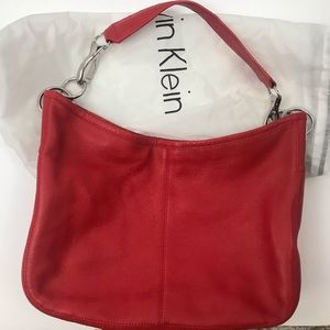 Like New Calvin Klein Red Leather Tote Bag
